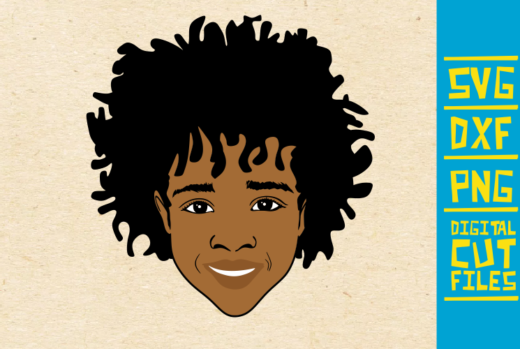 Download Free Black Boy Afro Hair Afro Boy Graphic By Svgyeahyouknowme for Cricut Explore, Silhouette and other cutting machines.