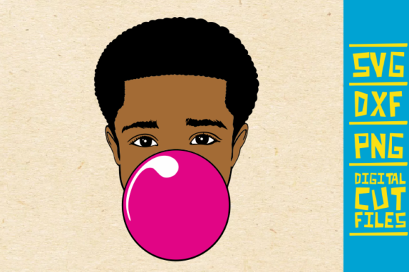 Download Free Black Boy With Bubble Gum Afro Man Graphic By Svgyeahyouknowme for Cricut Explore, Silhouette and other cutting machines.