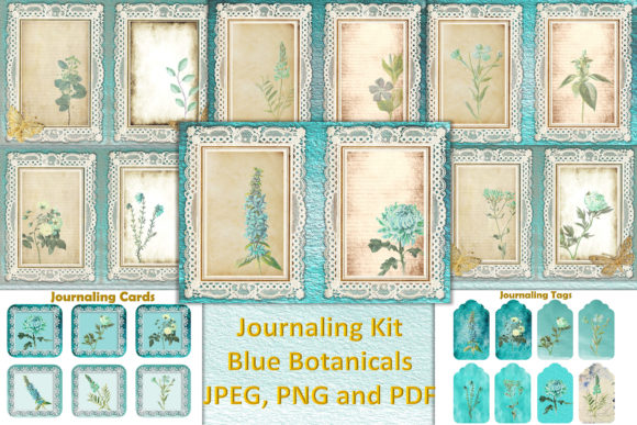Print on Demand: Blue Botanicals Backgrounds Free Clipart Graphic Crafts By The Paper Princess