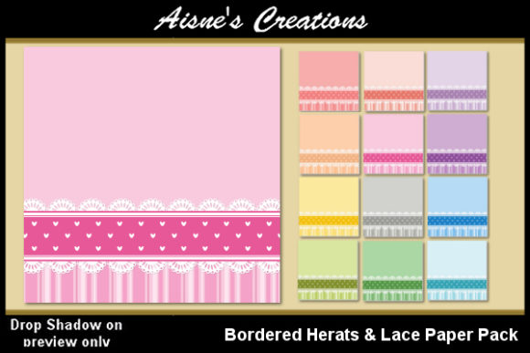 Print on Demand: Bordered Hearts & Lace Paper Pack Graphic Backgrounds By Aisne
