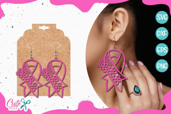 Download Free Cancer Ribbons Earring Template Graphic By Cute Files Creative for Cricut Explore, Silhouette and other cutting machines.
