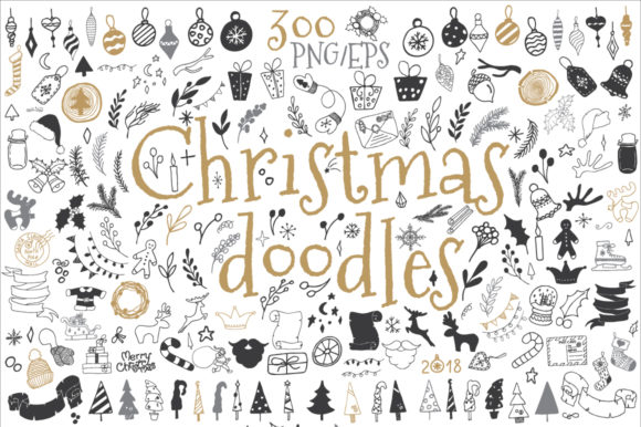 Christmas Doodle Icon and Design Element Graphic Illustrations By EvgeniiasArt