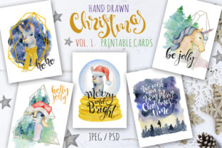 Christmas Hand Drawn Watercolor Cards Graphic By EvgeniiasArt