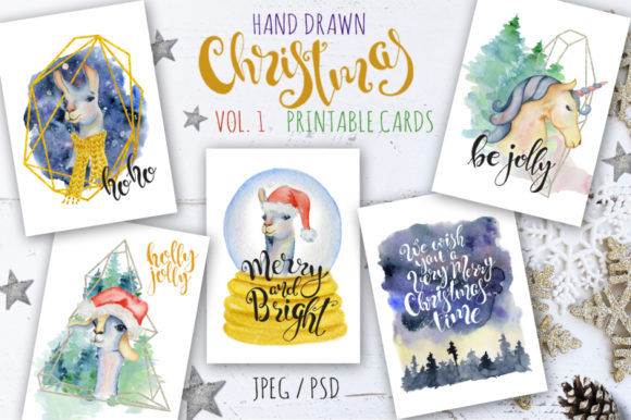 Christmas Hand Drawn Watercolor Cards Graphic Illustrations By EvgeniiasArt