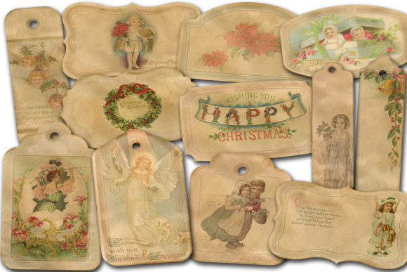Print on Demand: Christmas Labels Graphic Illustrations By retrowalldecor