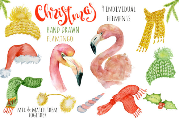 Download Free Christmas Pink Flamingo Watercolor Creat Graphic By Evgeniiasart for Cricut Explore, Silhouette and other cutting machines.