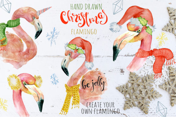 Christmas Pink Flamingo Watercolor  Graphic Illustrations By EvgeniiasArt