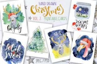 Christmas Watercolor Cards Vol.2 Graphic By EvgeniiasArt