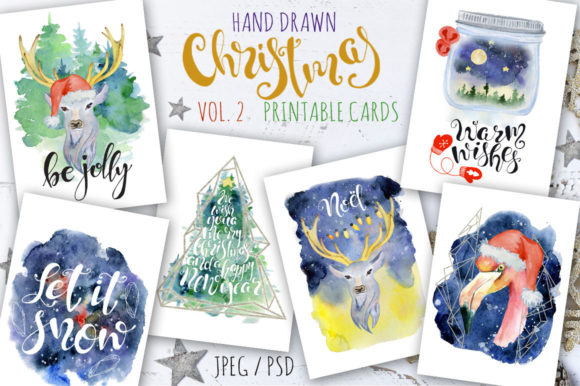Christmas Watercolor Cards Vol.2 Graphic Illustrations By EvgeniiasArt