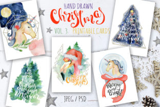 Christmas Watercolor Cards Vol.3 Graphic By EvgeniiasArt