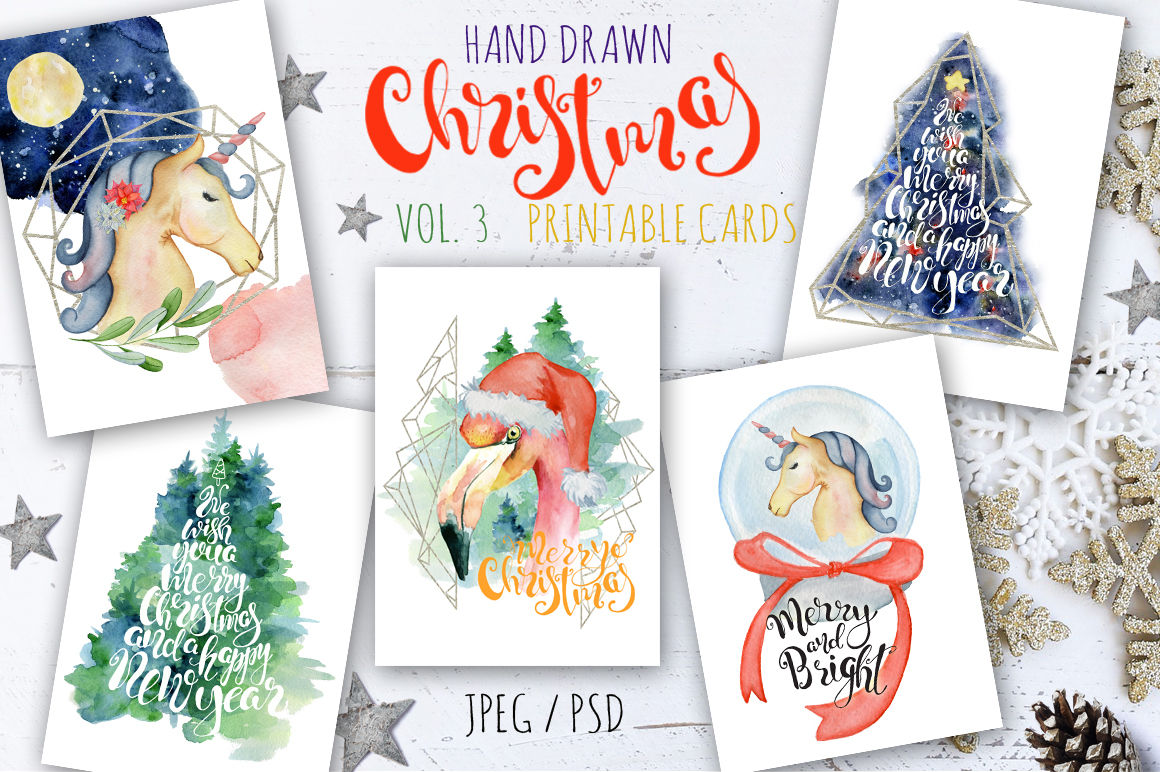 Download Free Christmas Watercolor Cards Vol 3 Graphic By Evgeniiasart for Cricut Explore, Silhouette and other cutting machines.