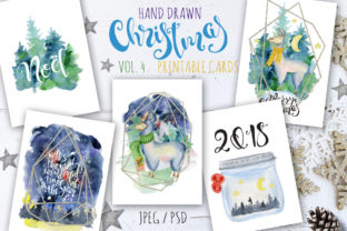 Christmas Watercolor Cards Vol.4 Graphic By EvgeniiasArt