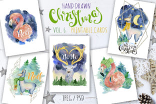 Christmas Watercolor Cards Vol.6 Graphic By EvgeniiasArt