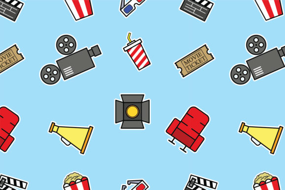 Download Free Cinema Bold Outline Seamless Pattern Graphic By Superzizie for Cricut Explore, Silhouette and other cutting machines.