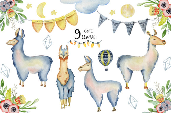 Cute Llamas. Watercolor Animals Clipart Graphic Illustrations By EvgeniiasArt - Image 6
