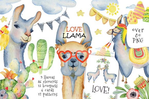 Cute Llamas. Watercolor Animals Clipart Graphic Illustrations By EvgeniiasArt