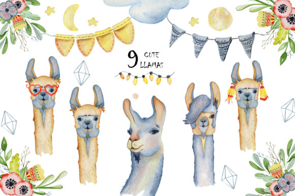 Cute Llamas. Watercolor Animals Clipart Graphic Illustrations By EvgeniiasArt - Image 7
