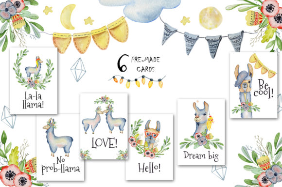 Cute Llamas. Watercolor Animals Clipart Graphic Illustrations By EvgeniiasArt - Image 9