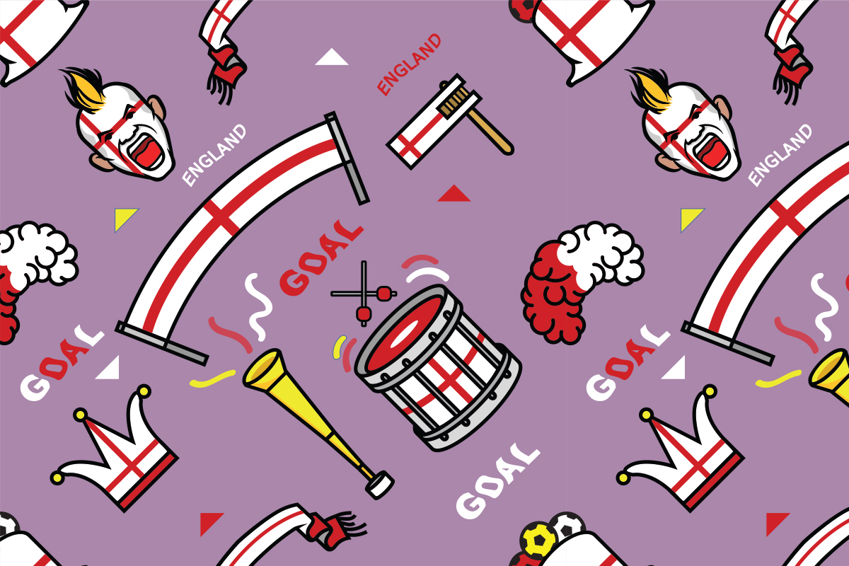 Download Free England Supporter Gear Seamless Pattern Graphic By Superzizie for Cricut Explore, Silhouette and other cutting machines.
