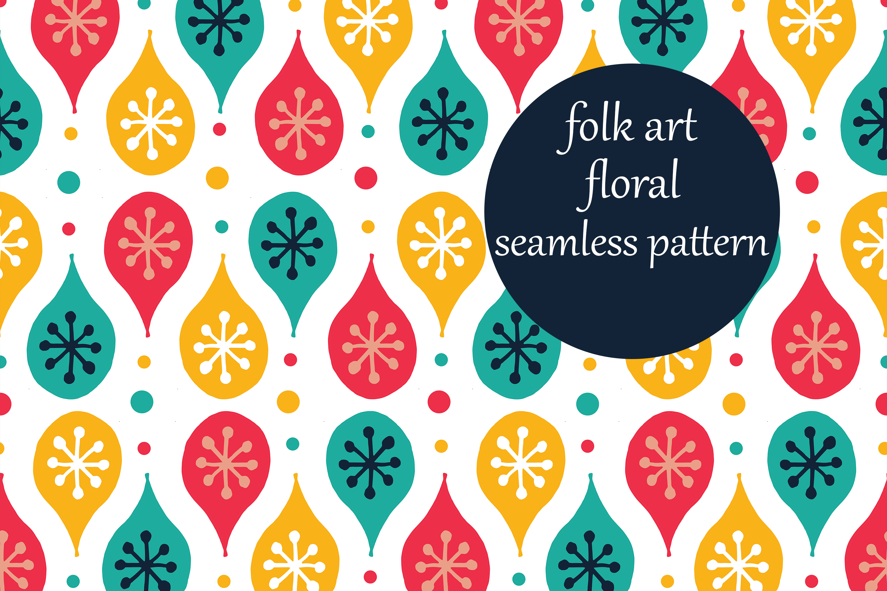 Download Free Festive Folk Art Illustrated Pattern Graphic By Brightgrayart for Cricut Explore, Silhouette and other cutting machines.