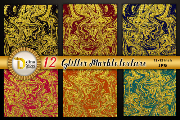 Print on Demand: Glitter Marble Texture( Gold Collection) Graphic Backgrounds By dina.store4art