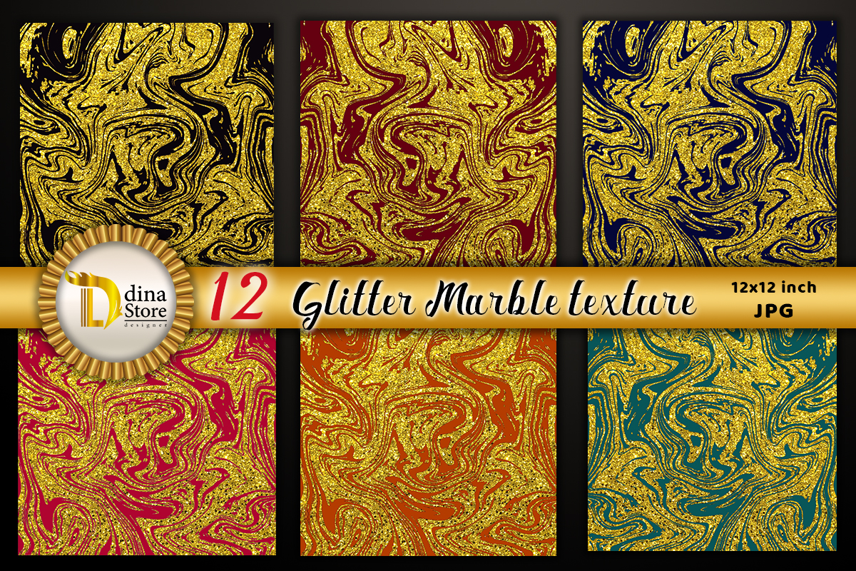 Glitter Marble Texture Gold Collection Graphic By Dina