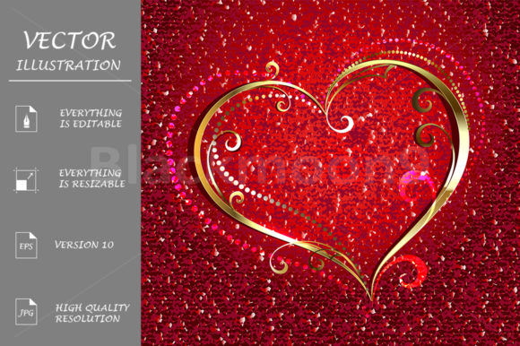 Golden Heart on Red Background Graphic Illustrations By Blackmoon9