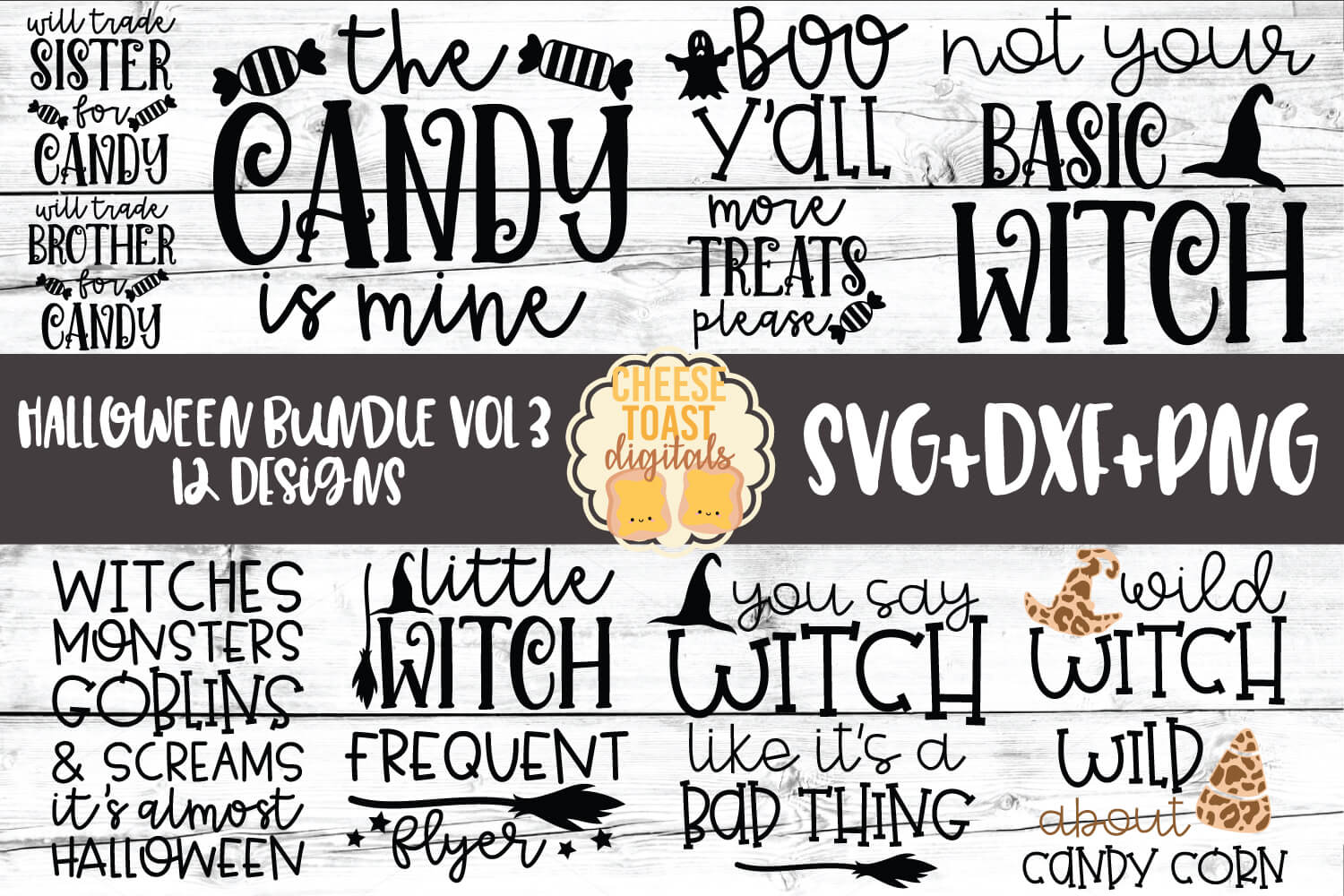 Download Free Halloween Bundle Vol 3 12 Designs Graphic By for Cricut Explore, Silhouette and other cutting machines.
