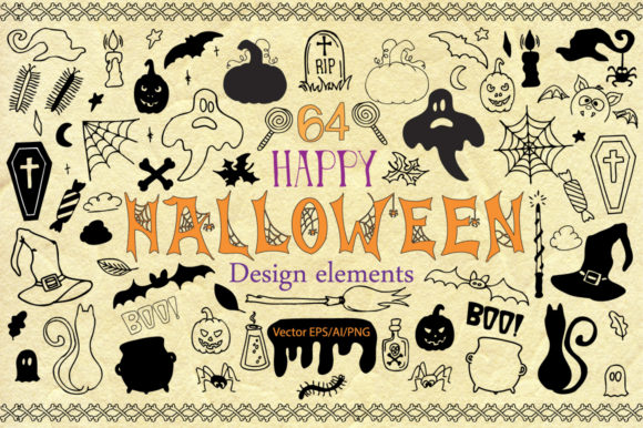 Download Free Halloween Doodle Vector Clipart Graphic By Evgeniiasart for Cricut Explore, Silhouette and other cutting machines.
