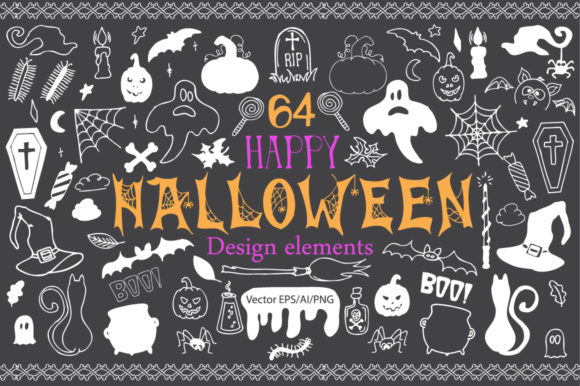 Download Free Halloween Doodle Vector Clipart Graphic By Evgeniiasart SVG Cut Files