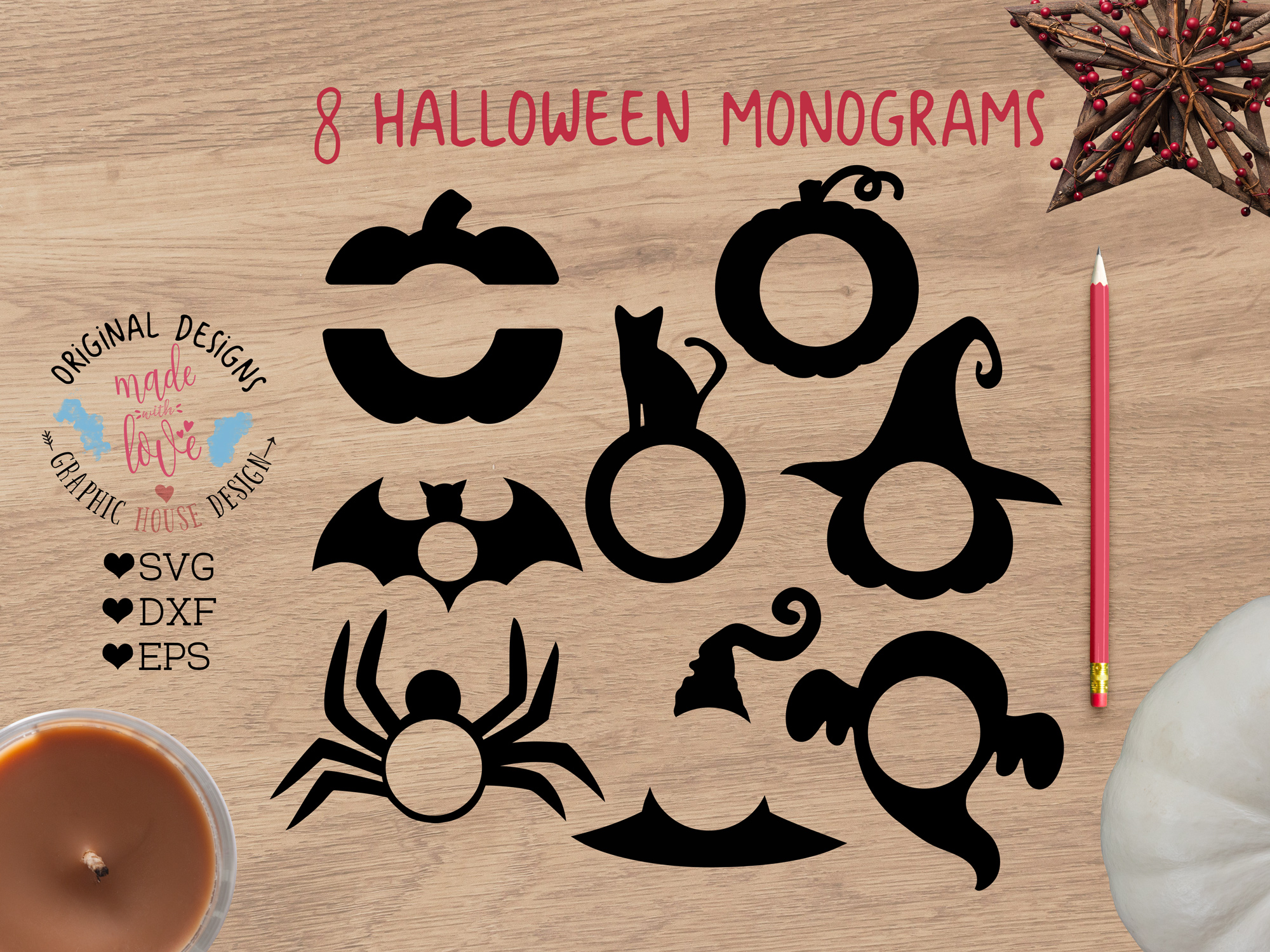 Download Free Halloween Monogram Frames Graphic By Graphichousedesign for Cricut Explore, Silhouette and other cutting machines.