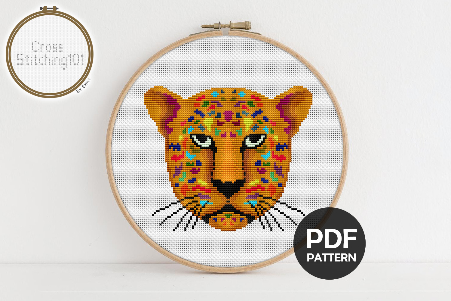 Download Free Jaguar Face Modern Cross Stitch Pattern Graphic By for Cricut Explore, Silhouette and other cutting machines.