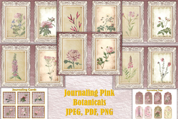 Print on Demand: Journal Kit Pink Botanicals Free Clipart Graphic Crafts By The Paper Princess