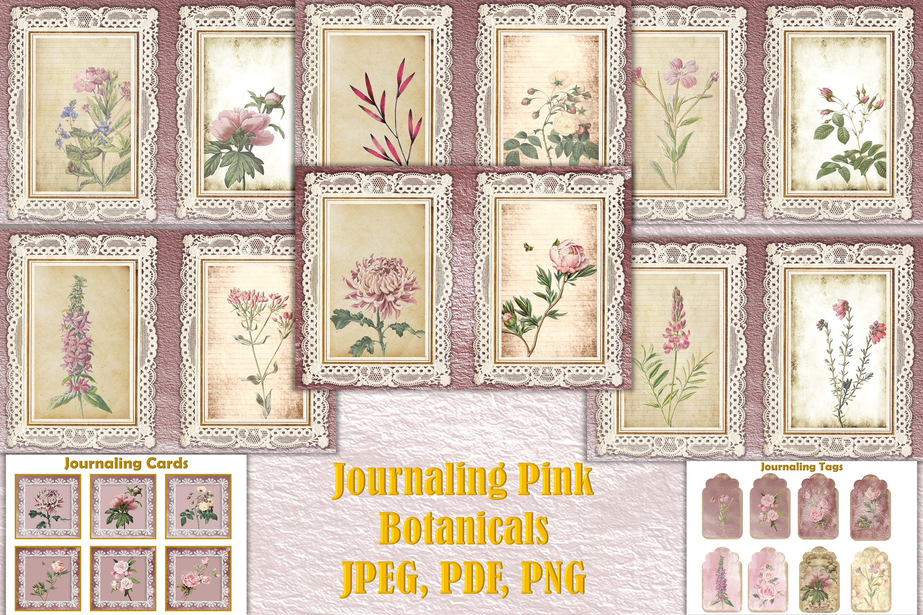 Download Free Journal Kit Pink Botanicals Free Clipart Graphic By The Paper SVG Cut Files