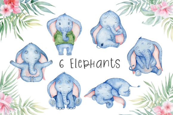Lovely Elephants Watercolor Set Animals Graphic Illustrations By EvgeniiasArt - Image 2