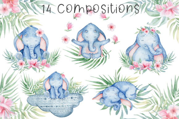 Lovely Elephants Watercolor Set Animals Graphic Illustrations By EvgeniiasArt - Image 4