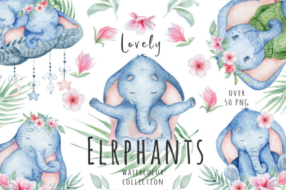 Lovely Elephants Watercolor Set Animals Graphic Illustrations By EvgeniiasArt - Image 1