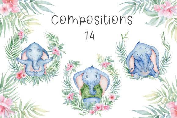 Lovely Elephants Watercolor Set Animals Graphic Illustrations By EvgeniiasArt - Image 9