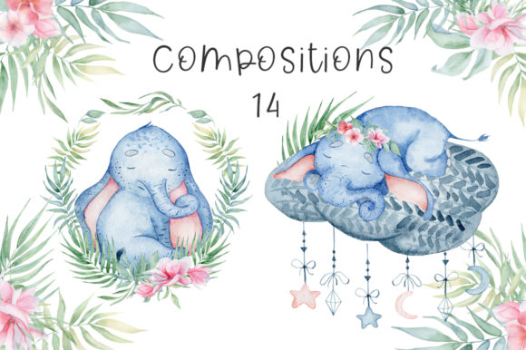 Lovely Elephants Watercolor Set Animals Graphic Illustrations By EvgeniiasArt - Image 10
