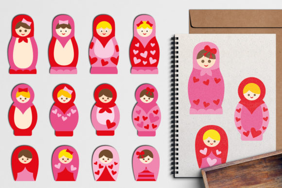 Print on Demand: Matryoshka Dolls Pink Graphic Illustrations By Revidevi