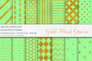 Mint Green Gold Seamless Patterns Graphic By damlaakderes