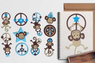 Monkey Peace Blue Graphic By Revidevi