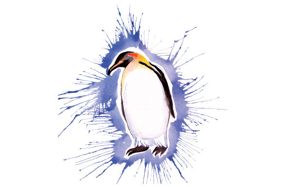 Download Free Penguin In Paint Splatter Watercolor Style Svg Cut File By SVG Cut Files