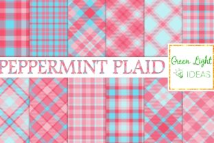 Peppermint Christmas Plaid Digital Paper Graphic By GreenLightIdeas