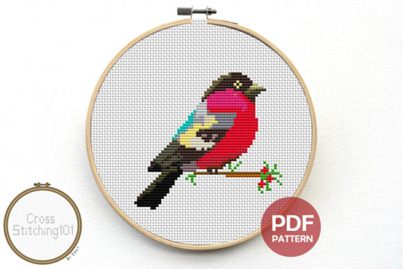 Download Free Red Robin Modern Cross Stitch Pattern Graphic By for Cricut Explore, Silhouette and other cutting machines.