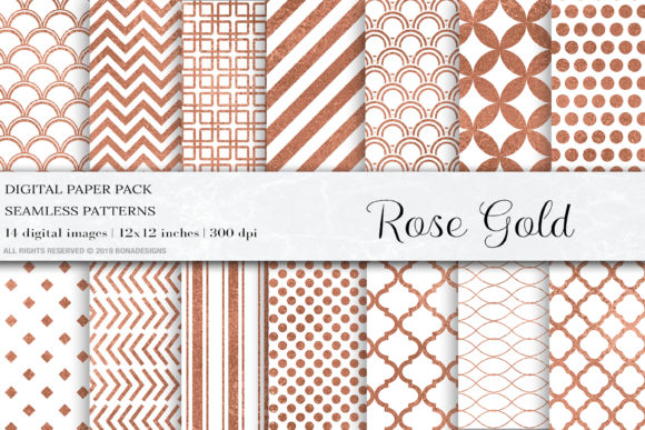 Download Free Rose Gold Seamless Patterns Rose Gold Graphic By Bonadesigns for Cricut Explore, Silhouette and other cutting machines.