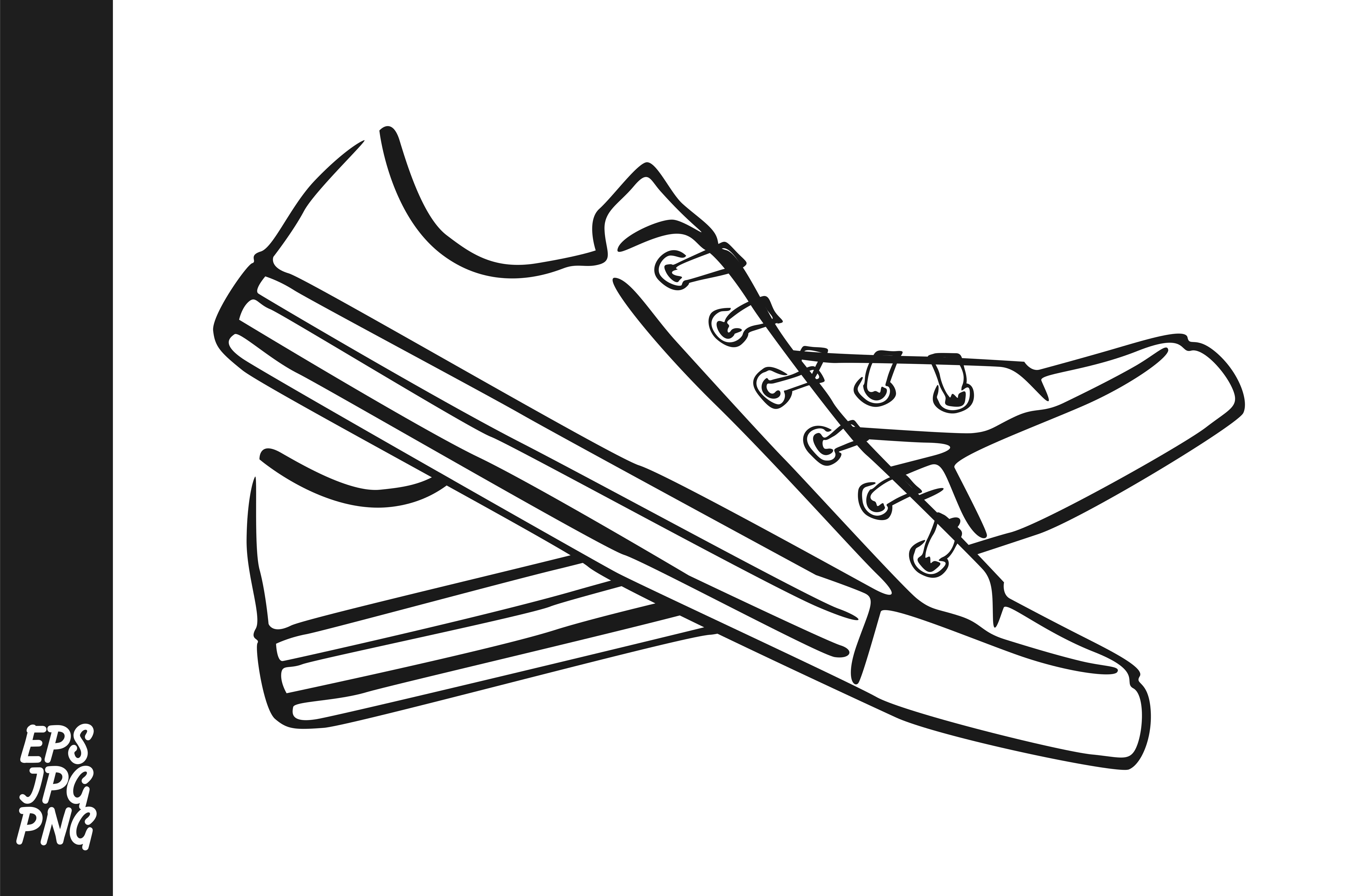 Download Free Shoes Line Art Graphic By Arief Sapta Adjie Creative Fabrica for Cricut Explore, Silhouette and other cutting machines.