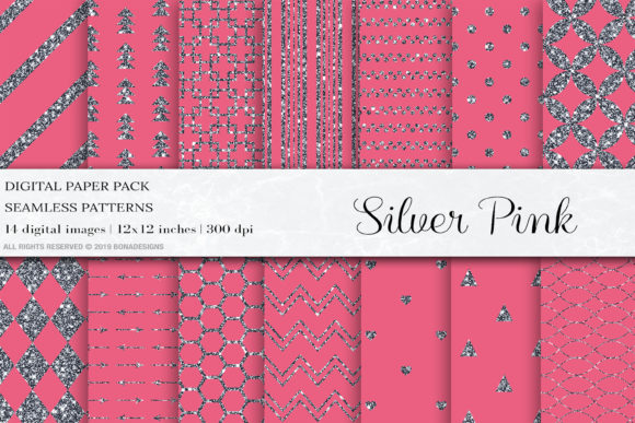 Silver Pink Glitter Digital Papers Graphic By Bonadesigns