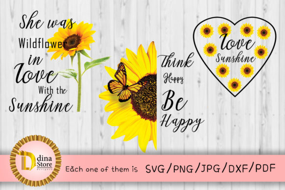Print on Demand: Sunflower Quote Graphic Crafts By dina.store4art