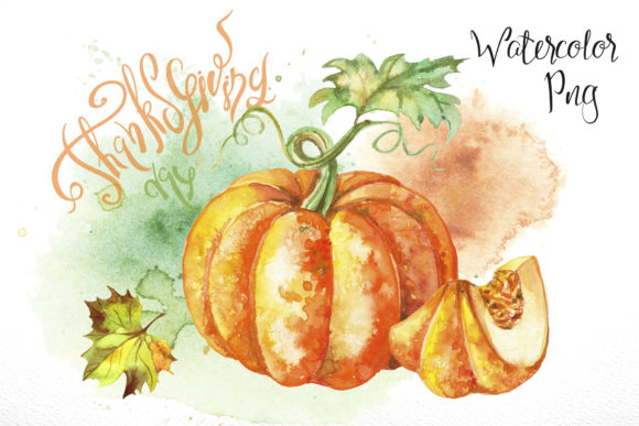 Thanksgiving Day Set of Watercolor Clip Graphic Illustrations By grigaola